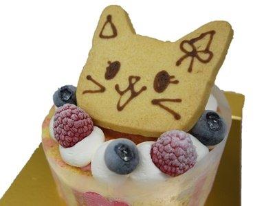 画像1: ねこちゃんクッキー付き苺ムースケーキ【お誕生日プレゼント】 (1)