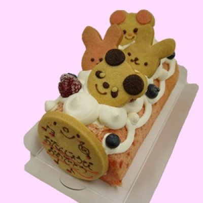 画像1: アニマルクッキー付き苺ロールバースデーケーキ【誕生日プレゼント】【お子様バースデーケーキ】 (1)